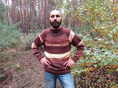 Вязание мужского свитера реглана из пряжи секционного окрашивания
