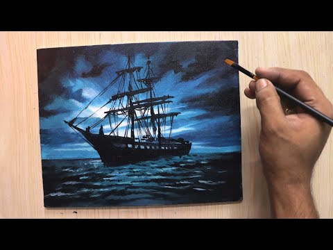 Acrylic painting of Moonlight night sky with a lonely ship