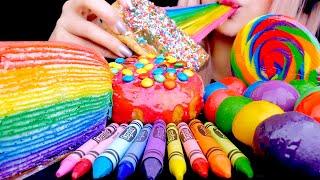 ASMR RAINBOW CREPE CAKE, DANGO, CHOCOLATE, JELLY, DONUTS | Satisfying Eating Sounds