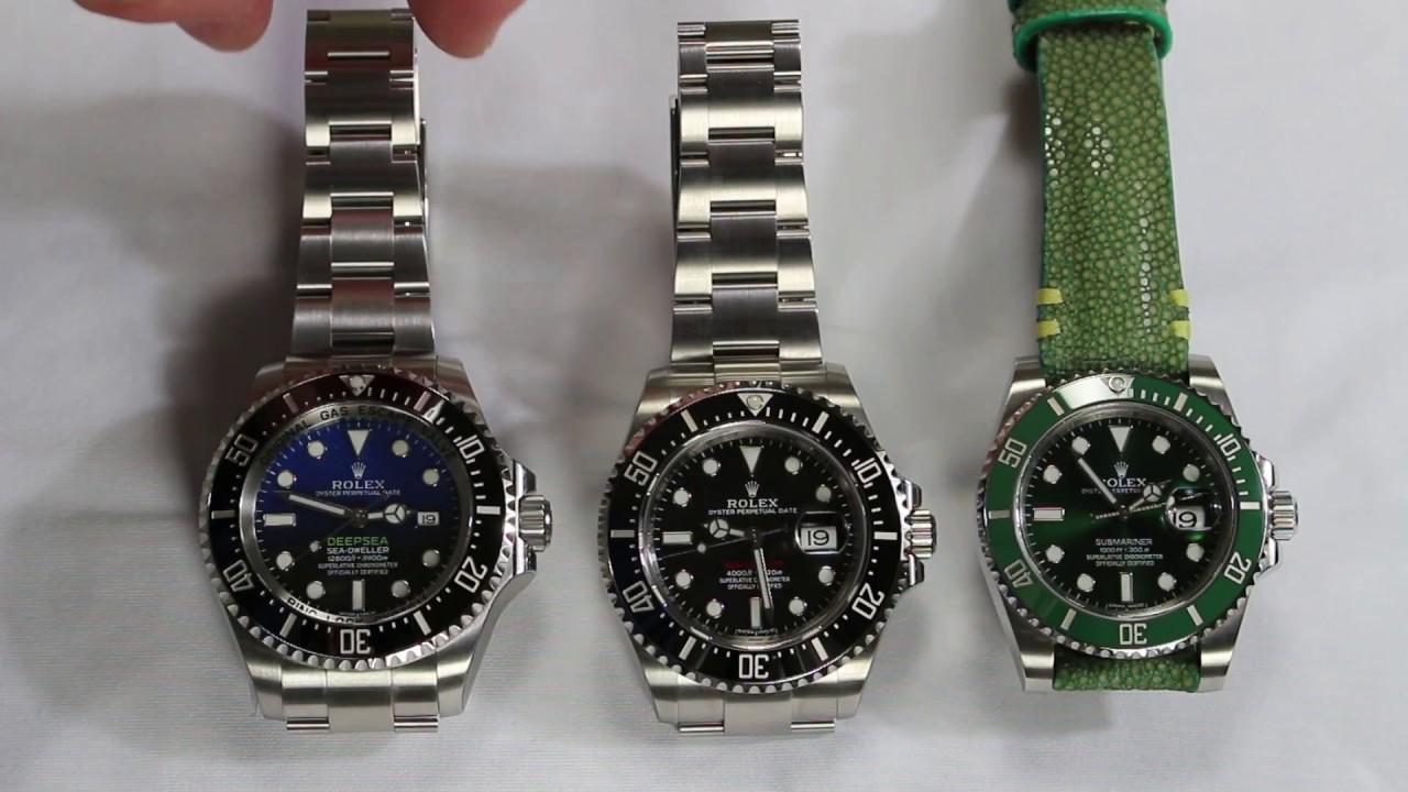 Rolex DeepSea Deep Blue vs Rolex Sea Dweller anniversary vs Rolex  submariner HULK Review Part 1.