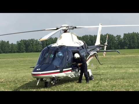 Agusta AW-109 POWER full startup and vertical takeoff from grass field