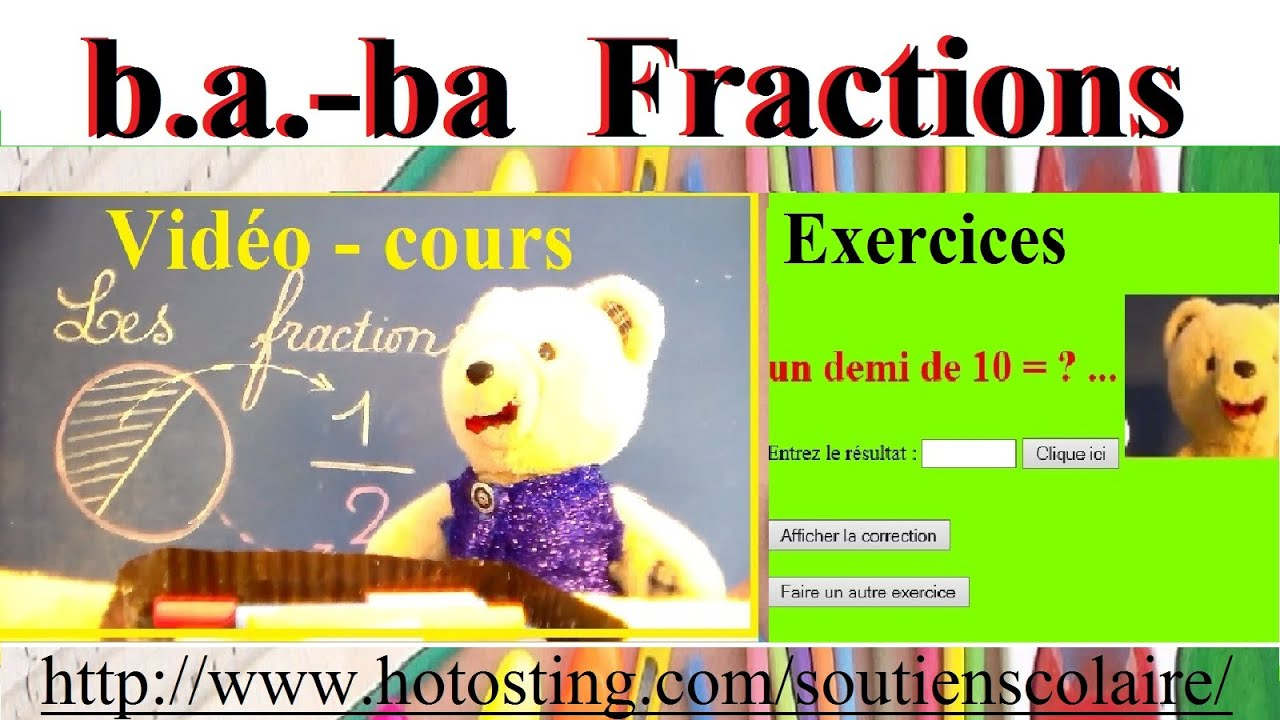 Favori Maths : Fraction simple cp ce1 ce2 cm1 - Cours B.a.-ba et exemple  IK99