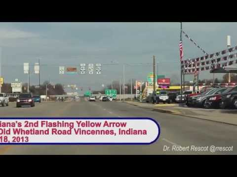 Driving through the Vincennes Indiana's Horizontal Flashing Yellow Arrow Traffic Signal