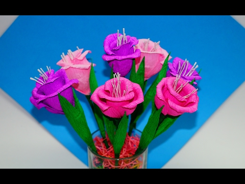 Easy flowers making. How to make flower bouquet - gift ideas. Paper flowers making easy / Julia DIY