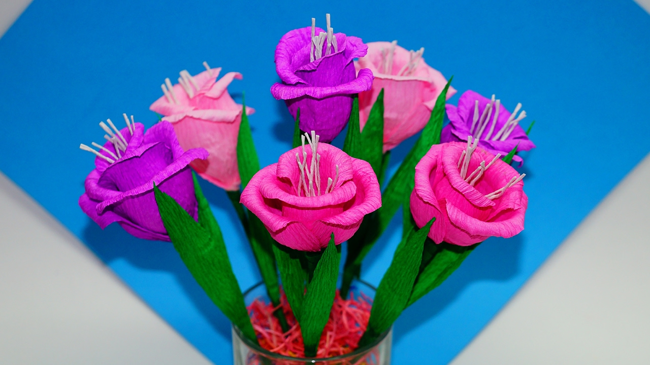 Easy flowers making. How to make flower bouquet - gift ideas. Paper ...