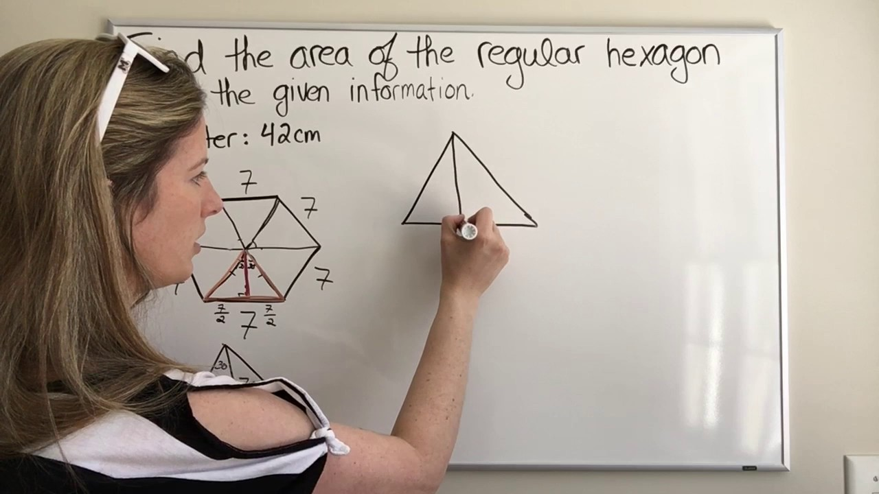 Finding The Area Of A Regular Hexagon With Side Length 7 Youtube