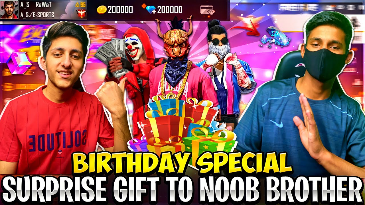 Surprise Gift To Noob Brother On His Birthday ? 12,000 Diamond New M1887 Skin - Garena Free Fire