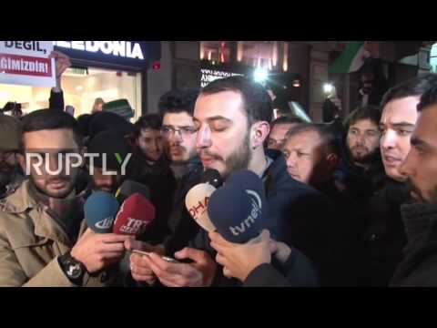 Turkey: Thousands protest Russian involvement in Syria outside Istanbul consulate