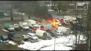 Взрыв «Газели» на севере Москвы попал на видео