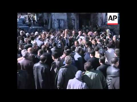 Palestinian journalists protest against blast that damaged Al Arabiya office