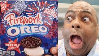 EXPLOSIONS IN MY MOUTH?! FIREWORK OREO TASTE TEST!