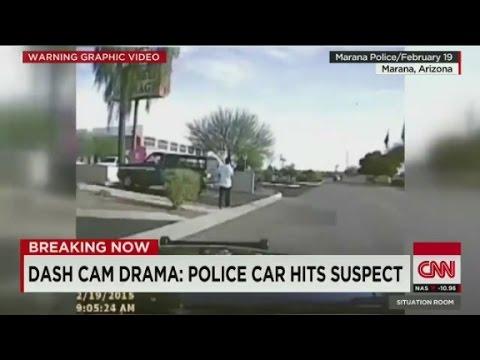 Dash cam drama: Police car hits suspect