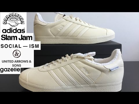 25f737528669 These Adidas Gazelle are a premium collaboration with United Arrows   Sons  and Slam Jam Socialism. They are available at most sneaker boutiques for  under ...