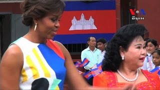 Michelle Obama Shares Her Story in Education with Girls in Cambodia លោកស្រី Michelle Obama