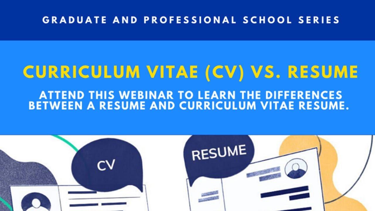 Cv Vs Resume Graduate Professional School Series Youtube
