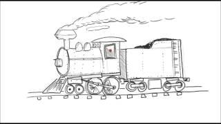 How to draw a cartoon train steam engine locomotive! - Simpletoons