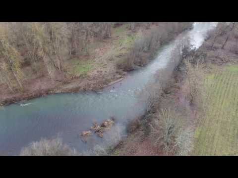 Calapooia River, Brownsville Oregon, Drone View