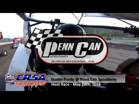 Dustin Purdy @ Penn Can Speedway 5/20/16 - CRSA Sprint Cars Heat Race Win - GoPro