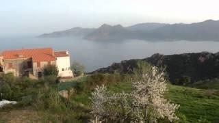 vue de ma chambre d'hôtel à Piana ( Corse / Golfe de Porto ) avril 2016