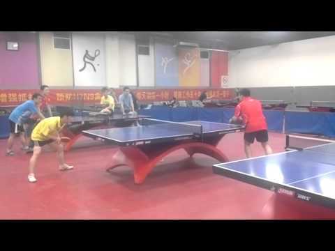 An amateur table tennis game in a club in China