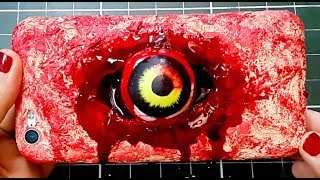 DIY Phone Case for Halloween! Eye Ripping Through Phone Case Special FX Makeup!