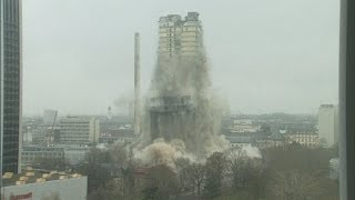 Record-breaking controlled explosion: Towerblock is detonated in Germany