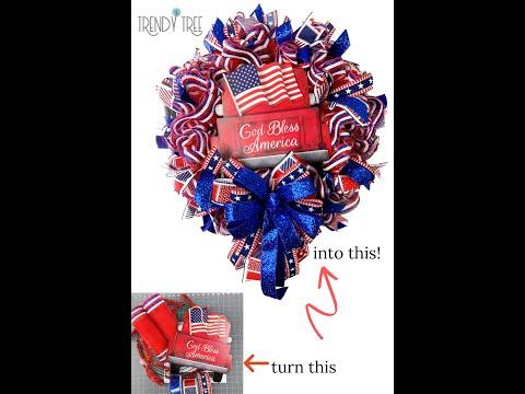 Time Lapse Video God Bless America Patriotic Deco Mesh Wreath