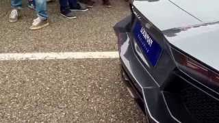 Lamborghini aventador w/ akrapovic exhaust loud revs and little flame