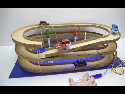 How to Make Amazing Hydraulic Powered Magic track with magic cars from Cardboard