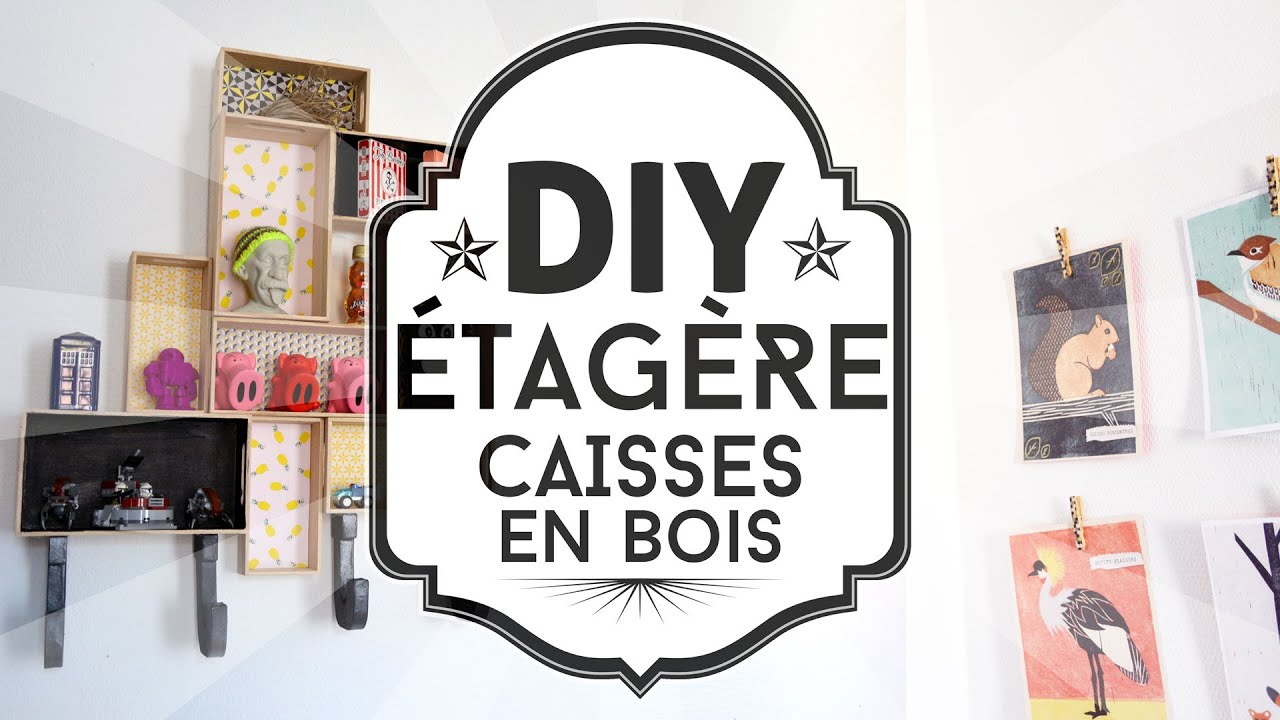 diy fabriquer une tag re d corative avec des caisses en bois youtube. Black Bedroom Furniture Sets. Home Design Ideas