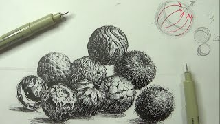 Pen & Ink Drawing Tutorials | How to create realistic textures (Part 3)