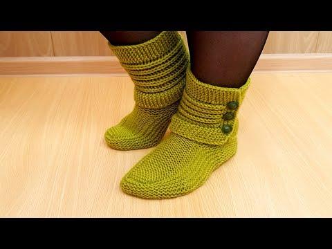 Видео для вязания спицами носков тапочков пинеток