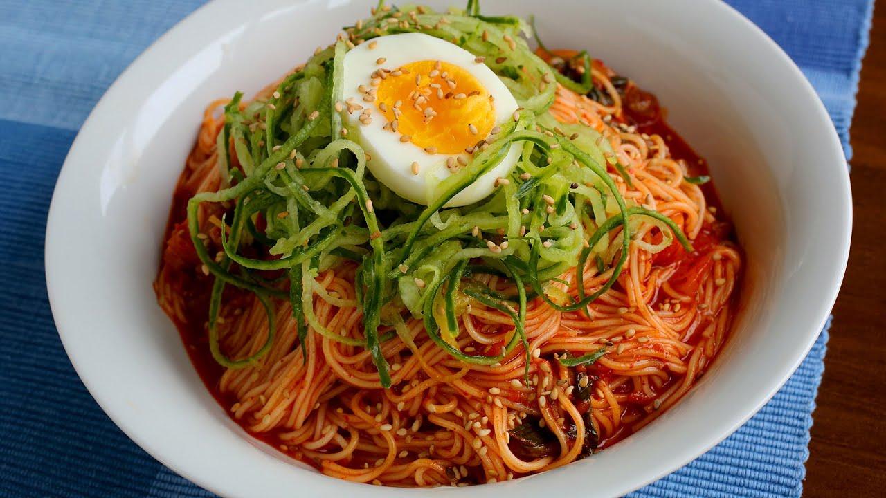 Spicy mixed noodles (Bibimguksu:비빔국수) - YouTube