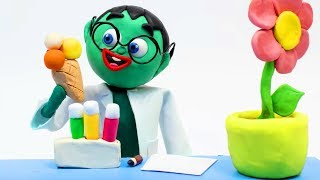 Chemistry experiment 💕Superhero Play Doh Stop motion cartoons