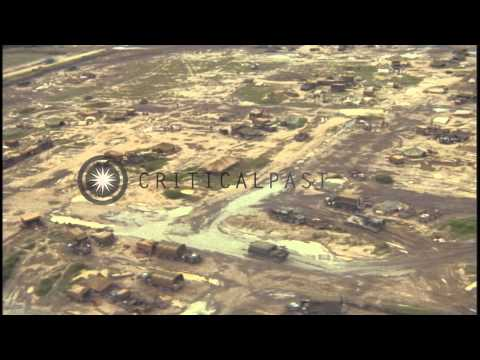 Aerial view 25th Infantry Base Division Base Camp at Cu Chi, South Vietnam. HD Stock Footage