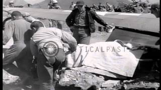 PV-1 plane of United States Army Air Force makes a crash landing on a runway in t...HD Stock Footage