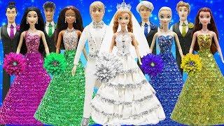 Play Doh Sparkle Wedding Dress 💖Anna & Kristoff💖 Elsa Jack Frost Tiana Naveen Belle Beast