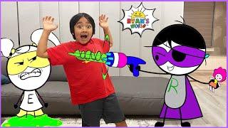 Ryan vs Dark Titan with EK Doodles with 1 hr kids video!!