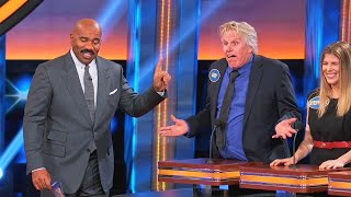 HYSTERICAL MOMENT! What's the most kissable part... of Gary Busey??? | Celebrity Family Feud