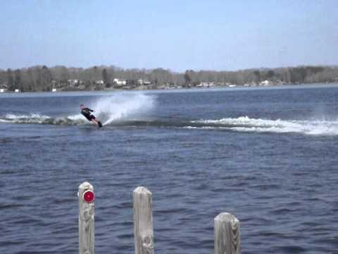 Brian Beachum Skis off pier