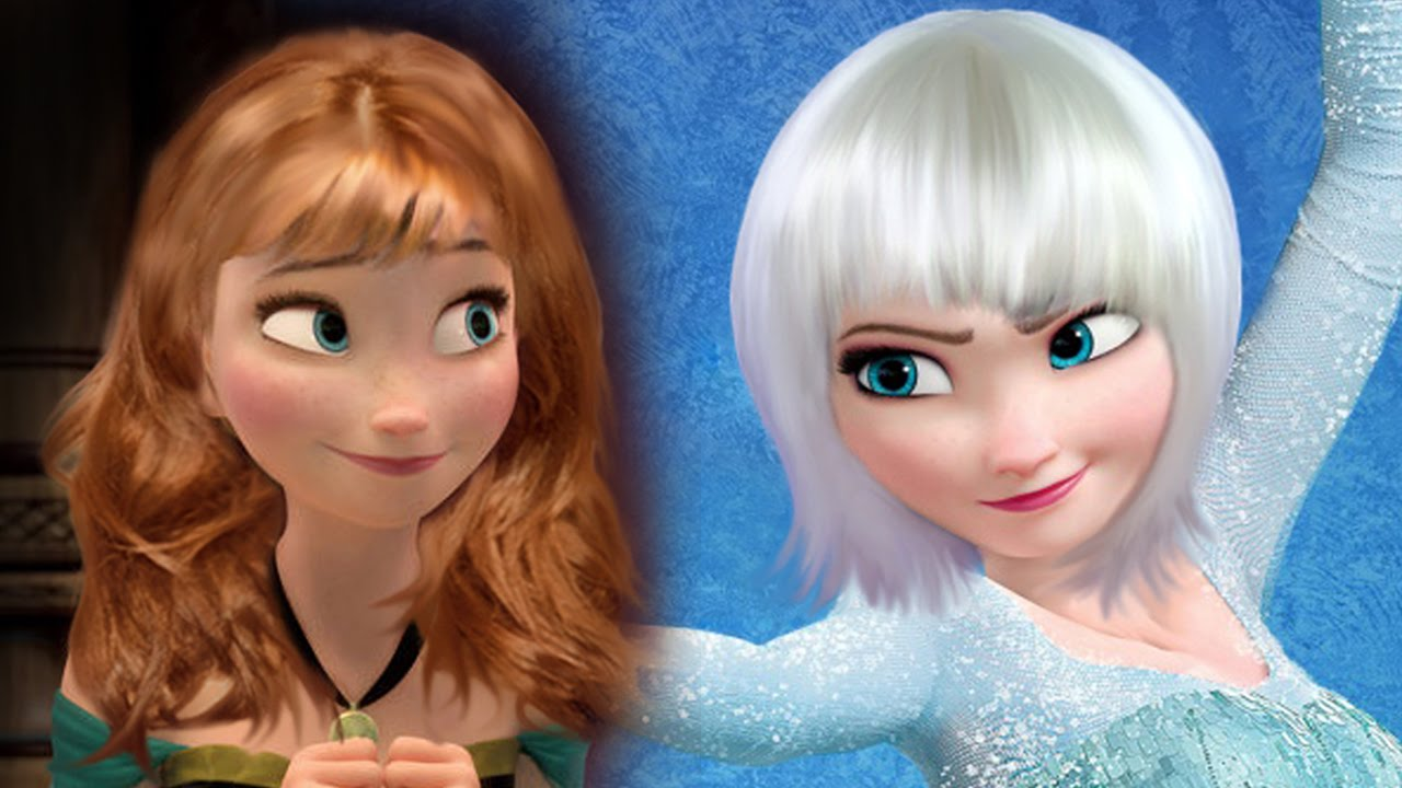 if disney princesses frozen elsa and anna had different hair style