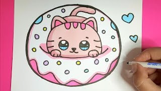 Kawaii Baby Katze in einem Donut malen - Kawaii BIlder