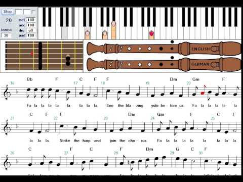 How to play 'Deck the Hall' on keyboard, recorder and guitar   tutorial