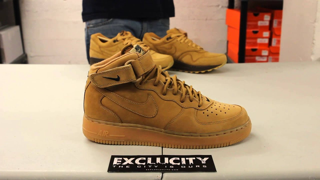 Air Force 1 Mid Flax On Feet