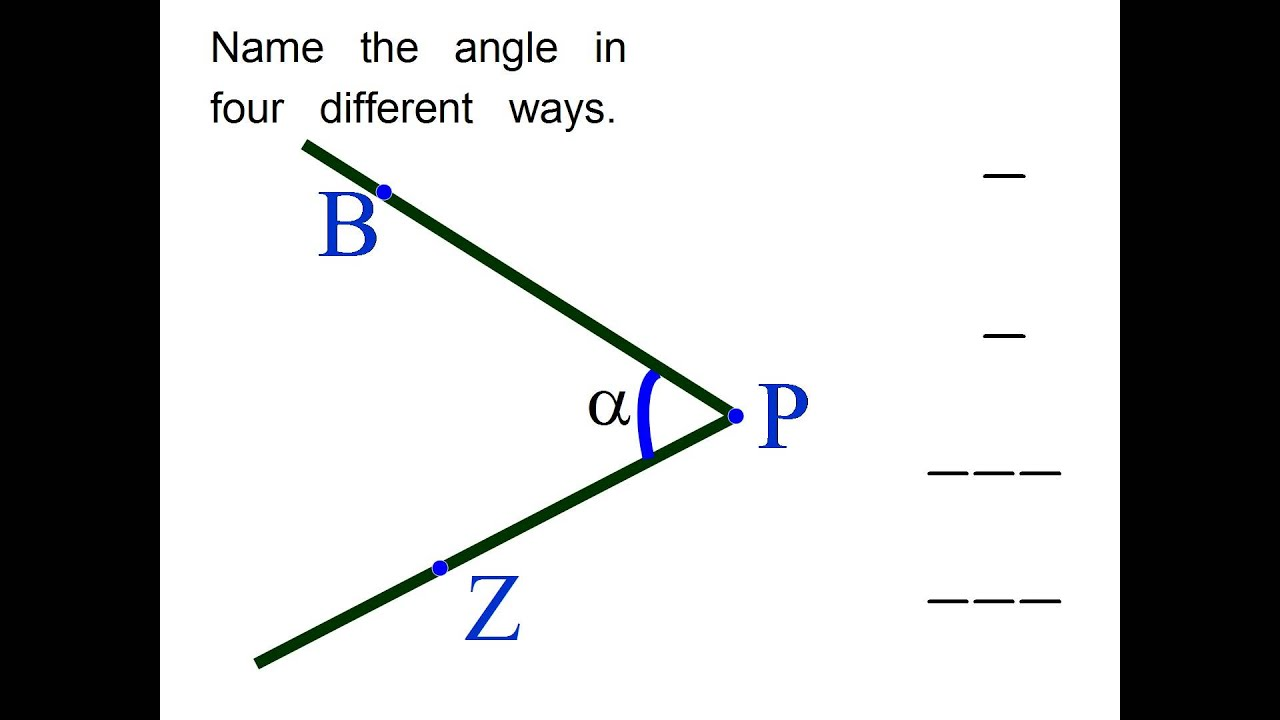 Name the angle in four different ways. middle school math