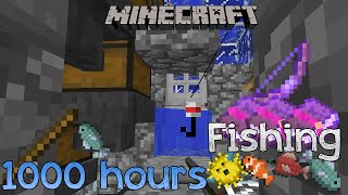 minecraft loot from 1000 hours of fishing at an afk farm