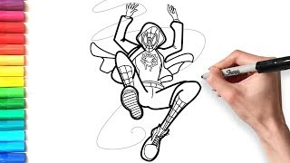 How to draw Spiderman for kids | Spider-man Into the Spider-Verse Coloring Pages | ART BEAR