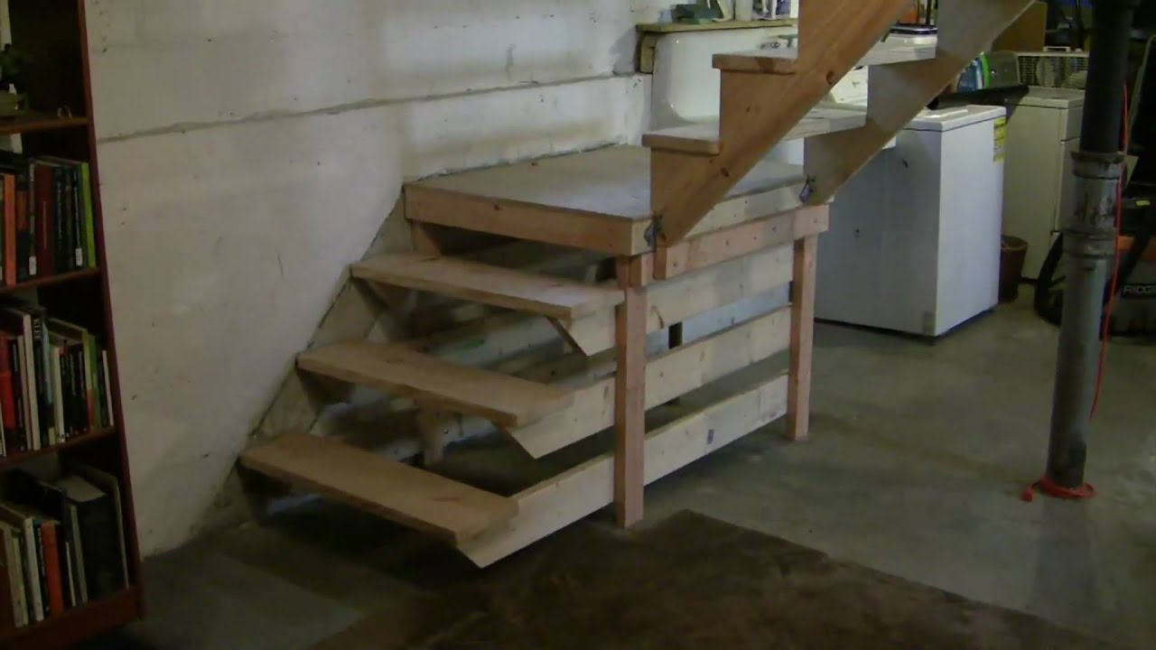 New staircase for my basement unpainted youtube for Wood floor 90 degree turn