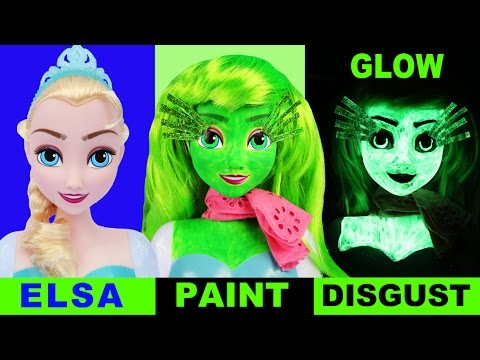 INSIDE OUT FROZEN ELSA DISGUST Face Paint Your Own Toys How-To Fluoro Glow Makeover Halloween
