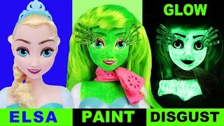 INSIDE OUT FROZEN ELSA DISGUST Face Paint Your Own Disney Toys How-To Halloween Fluoro Glow Makeover